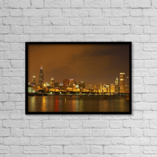 "Printscapes Wall Art: 18"" x 12"" Canvas Print With Black Frame - Chicago Skyline At Night by Kim Karpeles"