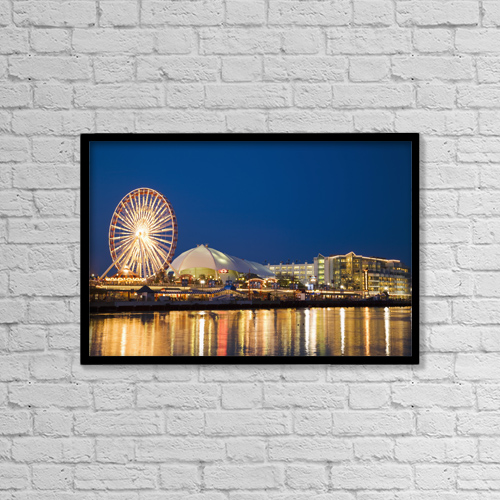 "Printscapes Wall Art: 18"" x 12"" Canvas Print With Black Frame - Amusement Park On Navy Pier At Dusk by Kim Karpeles"