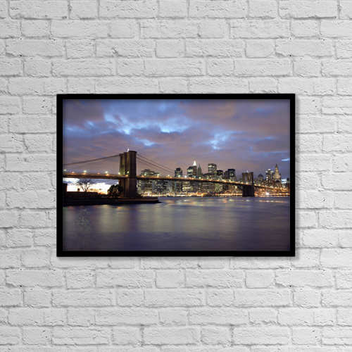"Printscapes Wall Art: 18"" x 12"" Canvas Print With Black Frame - Brooklyn Bridge And Lower Manhattan At Dusk by Marc Jackson"
