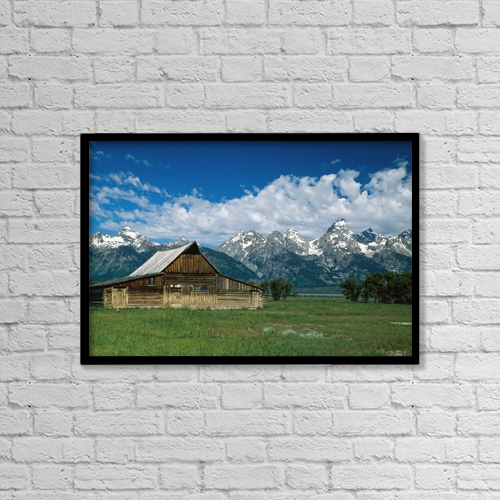 "Printscapes Wall Art: 18"" x 12"" Canvas Print With Black Frame - Moulton Barn At Mormon Row In Grand Tetons by Mary Winch"