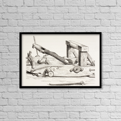 "Printscapes Wall Art: 18"" x 12"" Canvas Print With Black Frame - 15Th Century Mangonel by Ken Welsh"