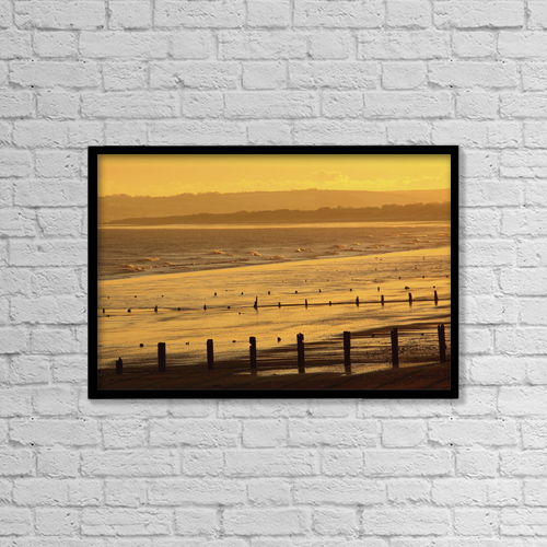 "Printscapes Wall Art: 18"" x 12"" Canvas Print With Black Frame - Sunset Over Beach In Winter by Trish Punch"
