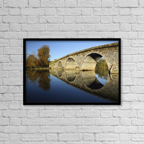 "Printscapes Wall Art: 18"" x 12"" Canvas Print With Black Frame - Bridge Over River Nore by Trish Punch"