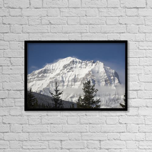 "Printscapes Wall Art: 18"" x 12"" Canvas Print With Black Frame - Snow-Covered Mount Temple by Michael Interisano"