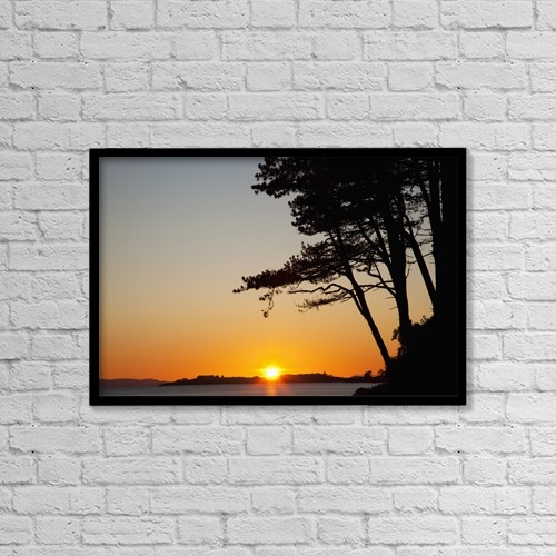 "Printscapes Wall Art: 18"" x 12"" Canvas Print With Black Frame - Sunset Over Kenmare Bay Near Blackwater by Peter Zoeller"