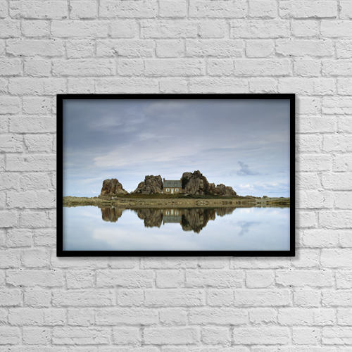 "Printscapes Wall Art: 18"" x 12"" Canvas Print With Black Frame - House In Between Rocks Reflected by Ellen Rooney"