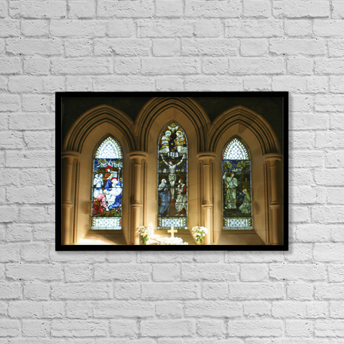 "Printscapes Wall Art: 18"" x 12"" Canvas Print With Black Frame - Birtley Church by Christine Giles"