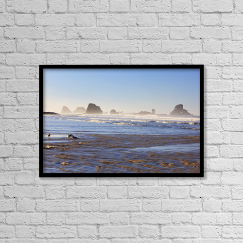 "Printscapes Wall Art: 18"" x 12"" Canvas Print With Black Frame - Tide At Indian Beach by Craig Tuttle"