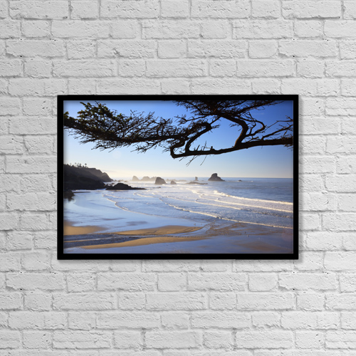 "Printscapes Wall Art: 18"" x 12"" Canvas Print With Black Frame - Sunrise On Indian Beach by Craig Tuttle"