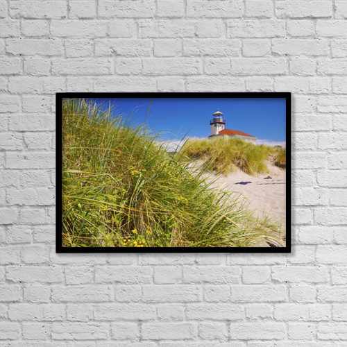 "Printscapes Wall Art: 18"" x 12"" Canvas Print With Black Frame - Coquille River Lighthouse by Craig Tuttle"