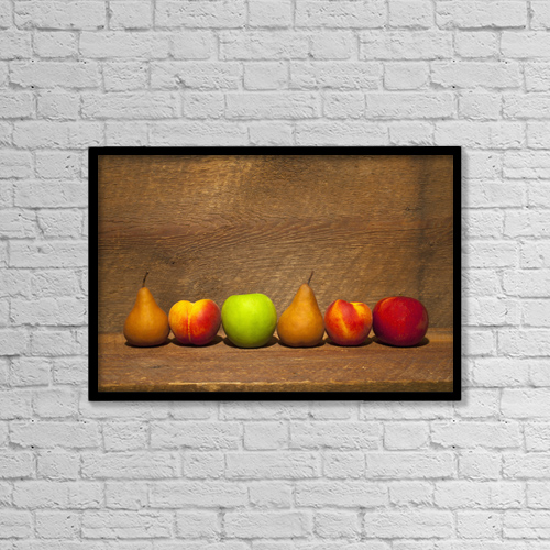 "Printscapes Wall Art: 18"" x 12"" Canvas Print With Black Frame - Variety Of Fruit In A Row On A Wooden Shelf by David Chapman"