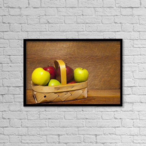 "Printscapes Wall Art: 18"" x 12"" Canvas Print With Black Frame - Apples In A Basket by David Chapman"
