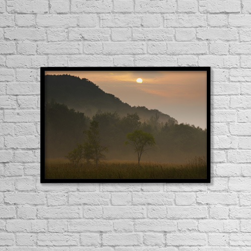 "Printscapes Wall Art: 18"" x 12"" Canvas Print With Black Frame - Sunrise And The Early Morning Fog by David Chapman"