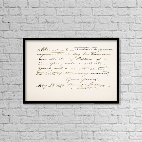 "Printscapes Wall Art: 18"" x 12"" Canvas Print With Black Frame - James Knox Polk, 1795 - 1849 by Ken Welsh"