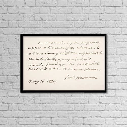 "Printscapes Wall Art: 18"" x 12"" Canvas Print With Black Frame - James Monroe, 1758 - 1831 by Ken Welsh"
