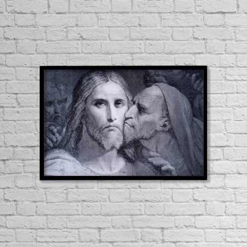 "Printscapes Wall Art: 18"" x 12"" Canvas Print With Black Frame - The Kiss by Ken Welsh"
