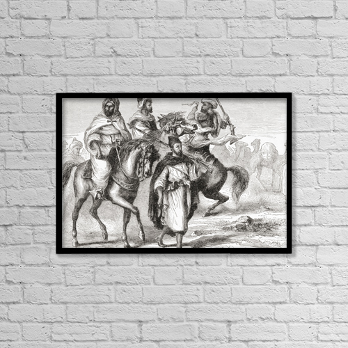 "Printscapes Wall Art: 18"" x 12"" Canvas Print With Black Frame - Moors In The 19Th Century by Ken Welsh"