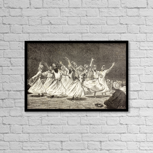 "Printscapes Wall Art: 18"" x 12"" Canvas Print With Black Frame - Whirling Dervishes In The 19Th Century by Ken Welsh"