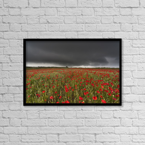 "Printscapes Wall Art: 18"" x 12"" Canvas Print With Black Frame - A Field Of Red Poppies Under A Dark Stormy Sky by John Short"