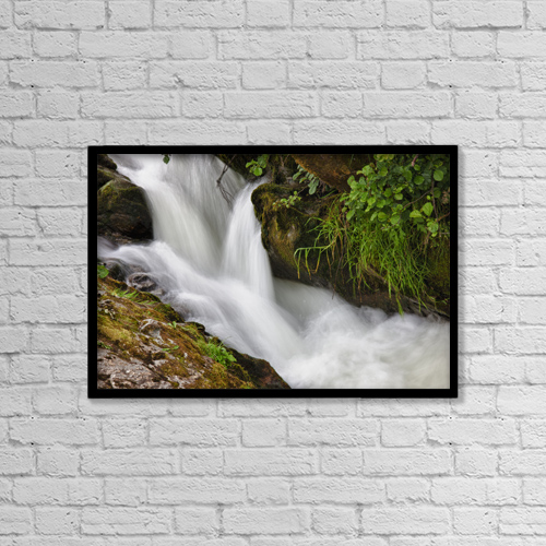 "Printscapes Wall Art: 18"" x 12"" Canvas Print With Black Frame - Water Flowing Over Rocks by John Short"