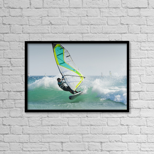 "Printscapes Wall Art: 18"" x 12"" Canvas Print With Black Frame - Windsurfing Off Punta Paloma by Ben Welsh"