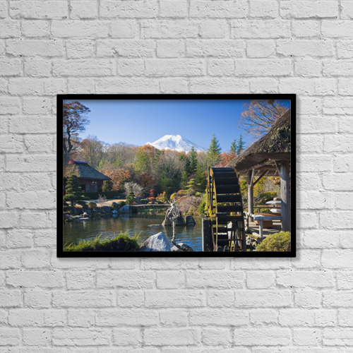 "Printscapes Wall Art: 18"" x 12"" Canvas Print With Black Frame - View Of Mount Fiji From A Japanese Garden by APlights"