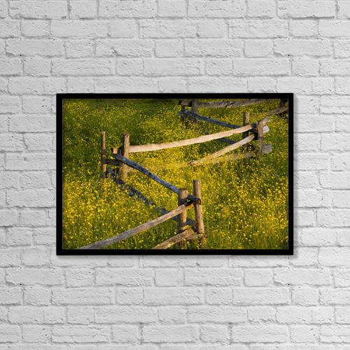 """Printscapes Wall Art: 18"""" x 12"""" Canvas Print With Black Frame - Wildflowers And A Wooden Fence At Sunset by David Chapman"""