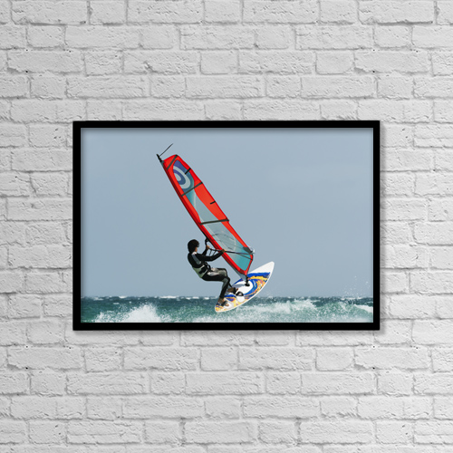 """Printscapes Wall Art: 18"""" x 12"""" Canvas Print With Black Frame - A Windsurfer In The Water by Ben Welsh"""