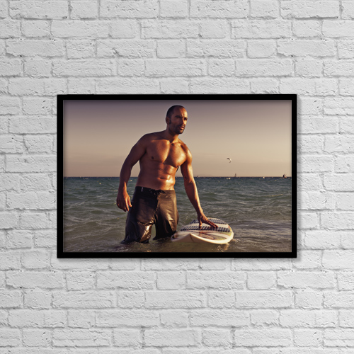 "Printscapes Wall Art: 18"" x 12"" Canvas Print With Black Frame - A Man With His Surfboard In The Water At Sunset by Ben Welsh"