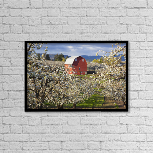 """Printscapes Wall Art: 18"""" x 12"""" Canvas Print With Black Frame - Farm Structures by Craig Tuttle"""