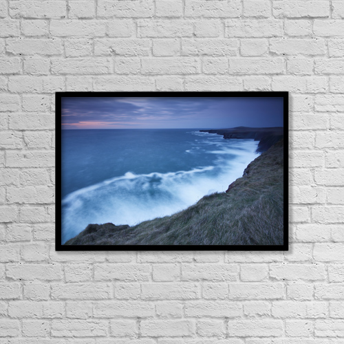 "Printscapes Wall Art: 18"" x 12"" Canvas Print With Black Frame - Cliffs And Coastline Of Loop Head by Trish Punch"