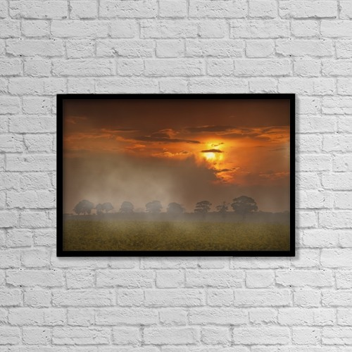 "Printscapes Wall Art: 18"" x 12"" Canvas Print With Black Frame - The Red Glow Of A Sunset And Fog Over A Field by John Short"
