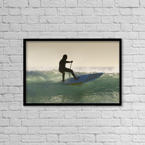 "Printscapes Wall Art: 18"" x 12"" Canvas Print With Black Frame - Wakeboarding; Los Lances Beach Tarifa Spain by Ben Welsh"