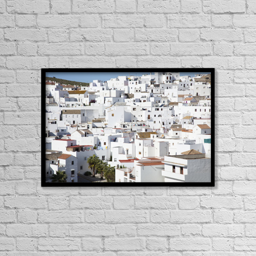 "Printscapes Wall Art: 18"" x 12"" Canvas Print With Black Frame - Town Buildings; Vejer De La Frontera Spain by Peter Zoeller"