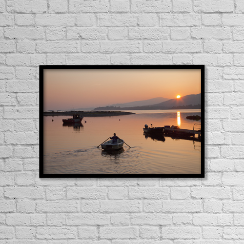 "Printscapes Wall Art: 18"" x 12"" Canvas Print With Black Frame - Sunset At Rosdohan Pier Near Sneem by Peter Zoeller"