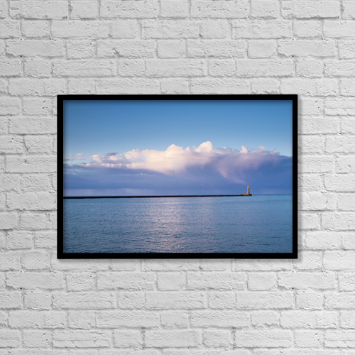 "Printscapes Wall Art: 18"" x 12"" Canvas Print With Black Frame - Roker Lighthouse by John Short"