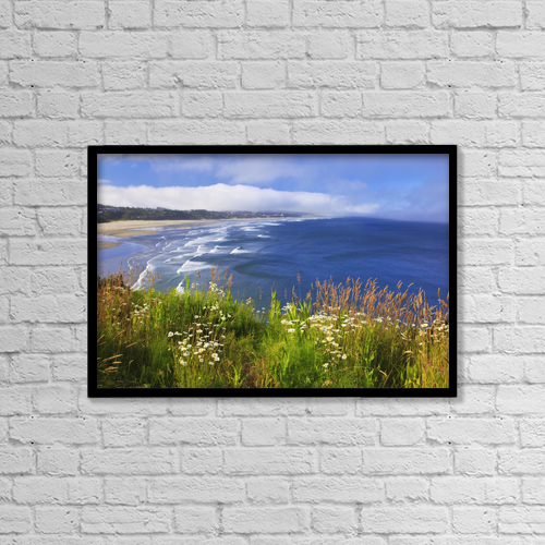 "Printscapes Wall Art: 18"" x 12"" Canvas Print With Black Frame - Wildflowers Along Yaquina Head by Craig Tuttle"