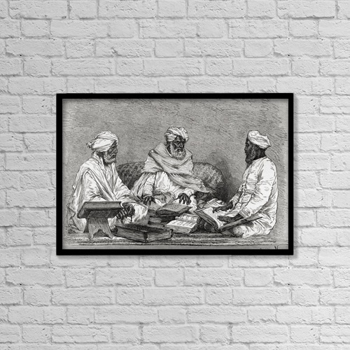 "Printscapes Wall Art: 18"" x 12"" Canvas Print With Black Frame - Mullahs From Bhopal, India In The 19Th Century by Ken Welsh"