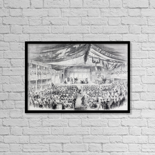 "Printscapes Wall Art: 18"" x 12"" Canvas Print With Black Frame - A Theatre In Osaka, Japan In The 1860's by Ken Welsh"