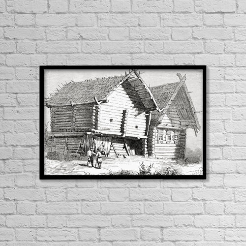 "Printscapes Wall Art: 18"" x 12"" Canvas Print With Black Frame - A House In Northern Russia In The 19Th Century by Ken Welsh"
