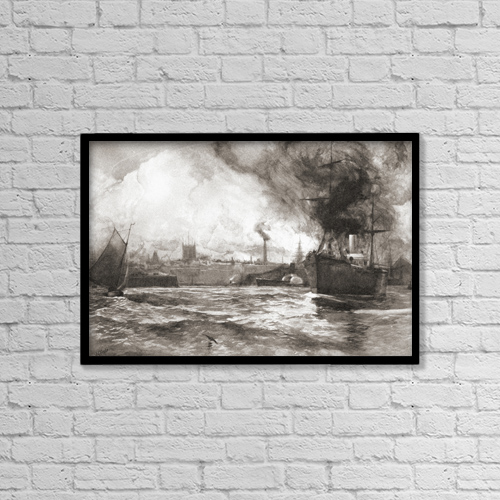 "Printscapes Wall Art: 18"" x 12"" Canvas Print With Black Frame - Hull From The Humber by Ken Welsh"