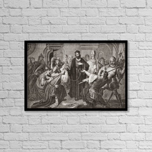 "Printscapes Wall Art: 18"" x 12"" Canvas Print With Black Frame - Jan Hus, 1369 - 1415 by Ken Welsh"