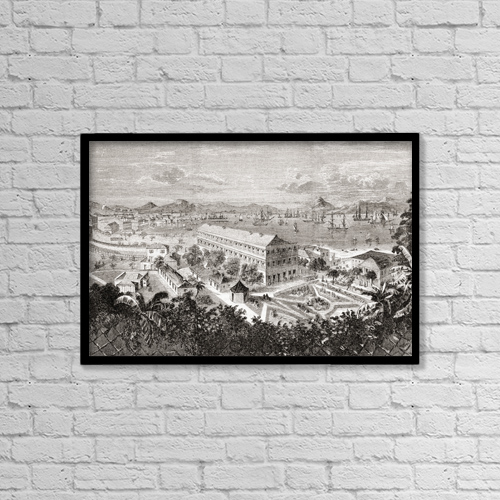 """Printscapes Wall Art: 18"""" x 12"""" Canvas Print With Black Frame - View Of Hong Kong And Its Harbour In The 1850's by Ken Welsh"""