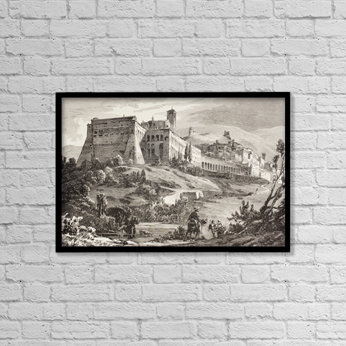 """Printscapes Wall Art: 18"""" x 12"""" Canvas Print With Black Frame - Assisi, Italy In The Late 19Th Century by Ken Welsh"""