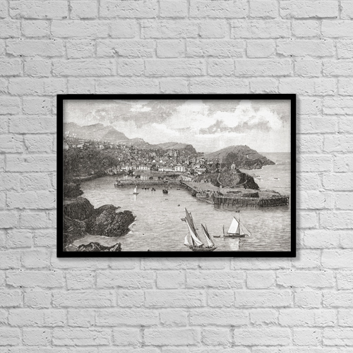 """Printscapes Wall Art: 18"""" x 12"""" Canvas Print With Black Frame - Ilfracombe, England In The Late 19Th Century by Ken Welsh"""