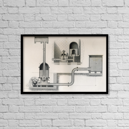 "Printscapes Wall Art: 18"" x 12"" Canvas Print With Black Frame - Hydraulic Ram, 19Th Century by Ken Welsh"