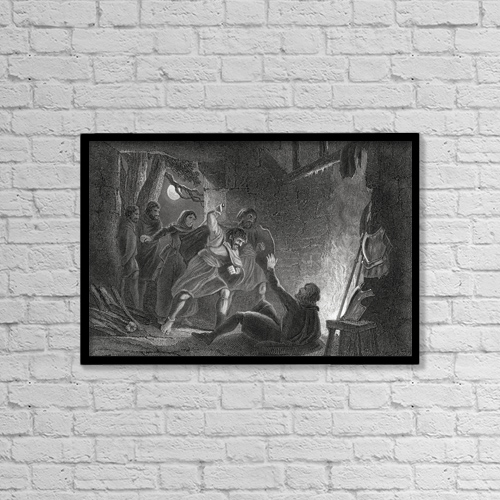 "Printscapes Wall Art: 18"" x 12"" Canvas Print With Black Frame - Death Of The Earl Of Desmond by Ken Welsh"