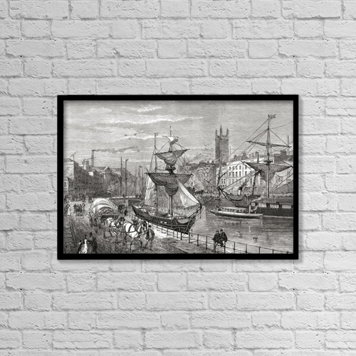 "Printscapes Wall Art: 18"" x 12"" Canvas Print With Black Frame - Bristol, England Seen From St by Ken Welsh"