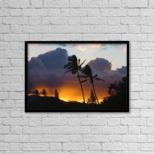 """Printscapes Wall Art: 18"""" x 12"""" Canvas Print With Black Frame - USA, Hawaii, Maui, puffy clouds at sunset by Ron Dahlquist"""