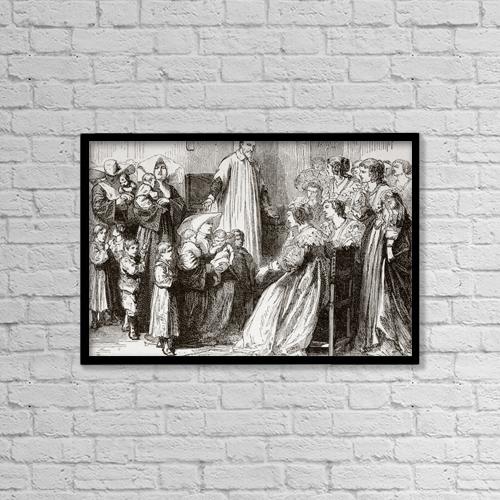 """Printscapes Wall Art: 18"""" x 12"""" Canvas Print With Black Frame - Saint Vincent De Paul, 1581 by Ken Welsh"""